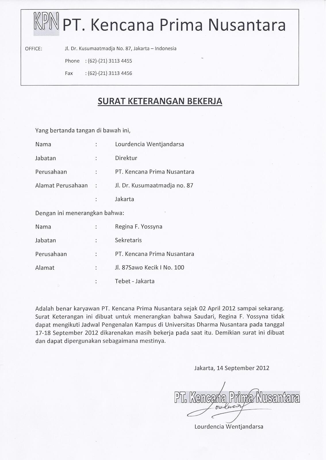 Contoh Surat Keterangan Kerja Untuk Kuliah