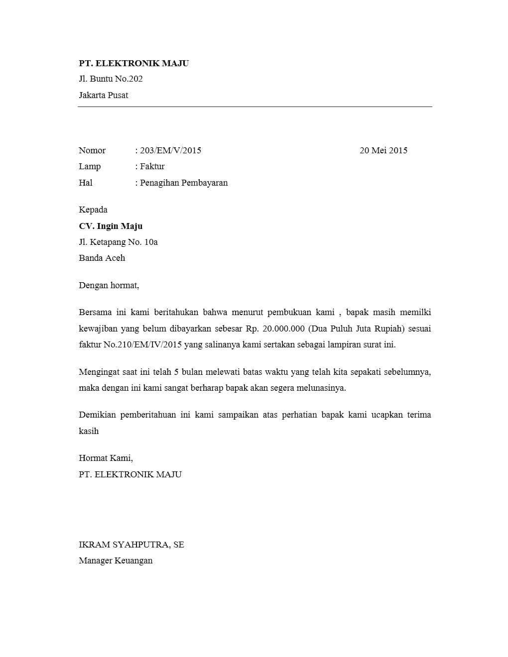 Contoh Surat Tugas Penagihan Hutang