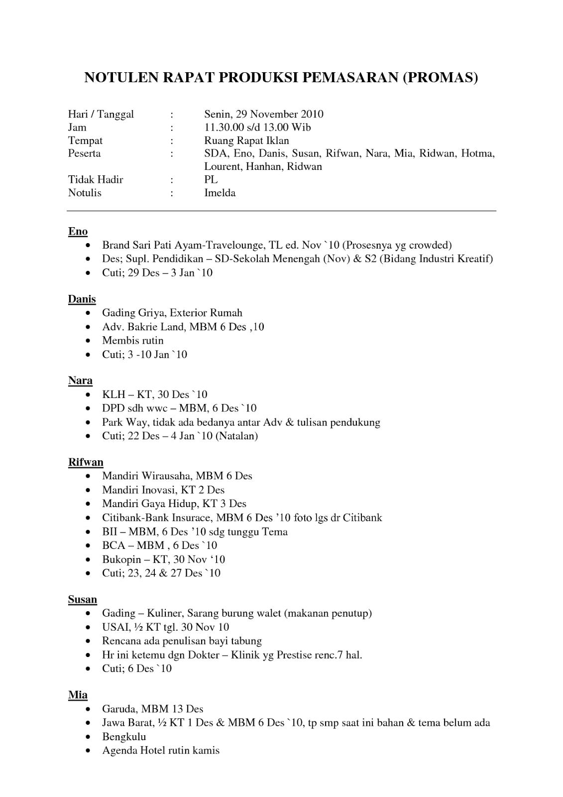 Contoh Notulen Rapat Perusahaan Swasta