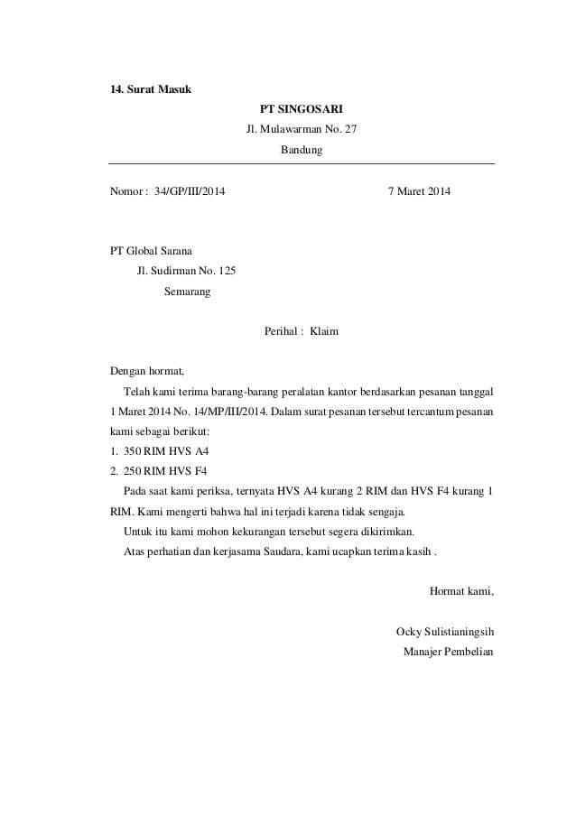 Contoh Surat Balasan Pengaduan Kekurangan Barang
