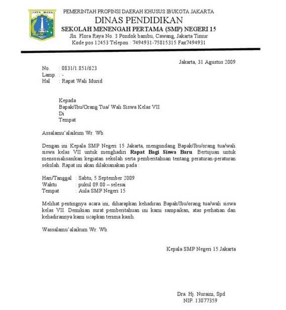 Contoh Surat Dinas Resmi Sekolah