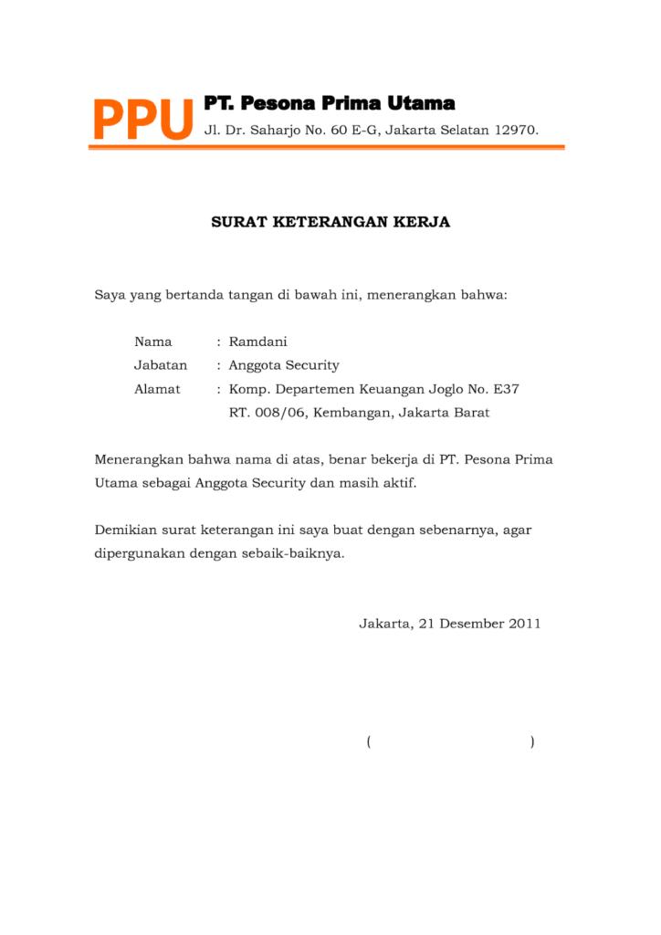 Contoh Surat Keterangan Kerja Untuk Npwp