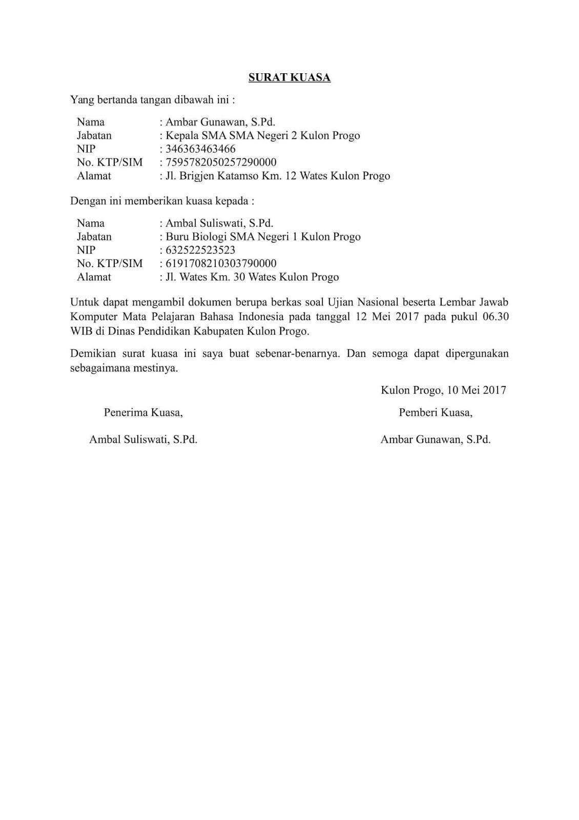 30 Contoh Surat Kuasa Perwakilan Pengurusan Pengambilan Terlengkap Doc Terupdate