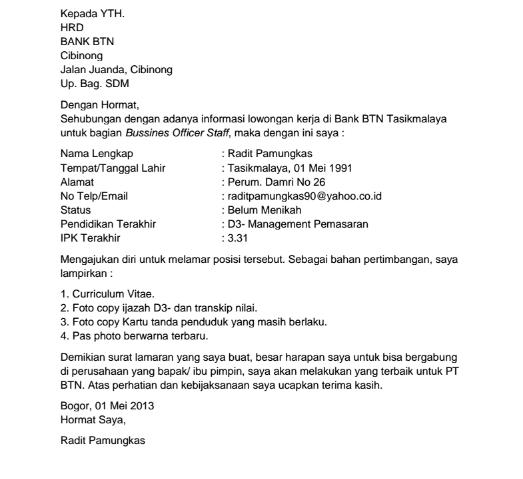 Contoh Surat Lamaran Kerja di bank BTN