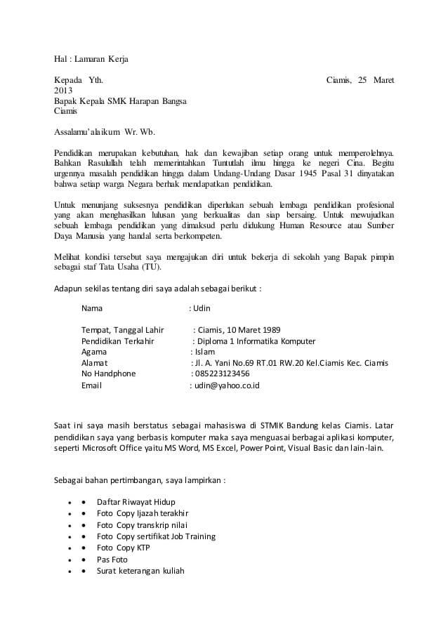 Contoh Surat Lamaran Kerja Guru Tetap Honorer Gtt
