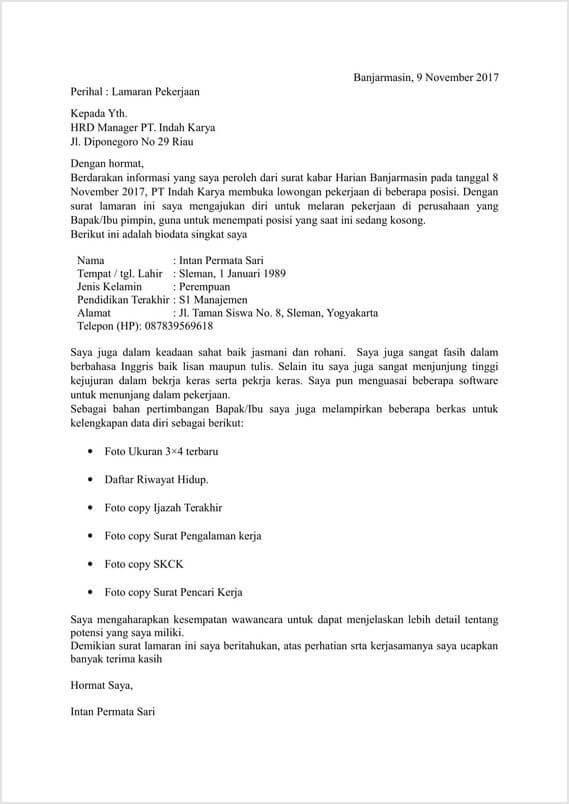 30 Contoh Surat Lamaran Kerja Yang Baik Dan Benar Terlengkap