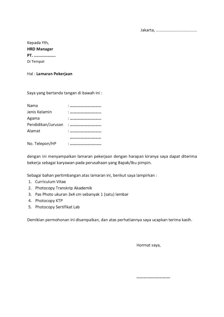 Contoh Surat Lamaran Sederhana