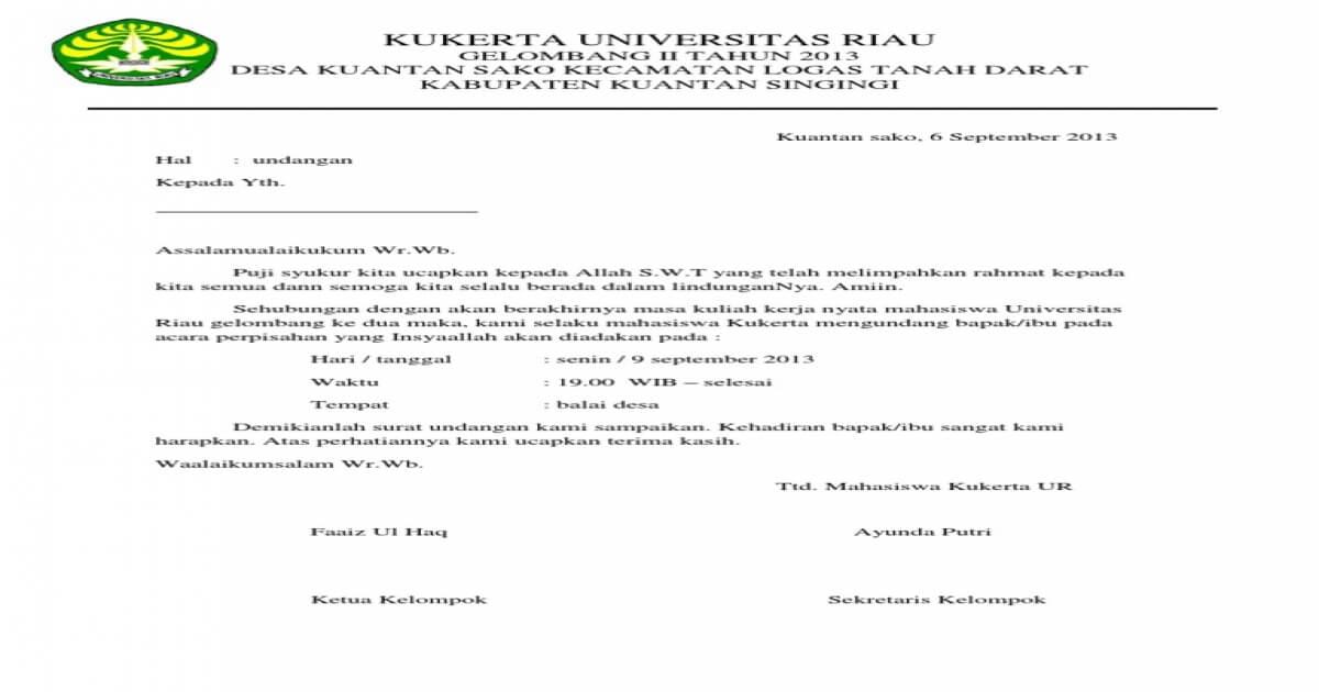 Contoh Surat Pemberitahuan Kegiatan Perpisahan PPL