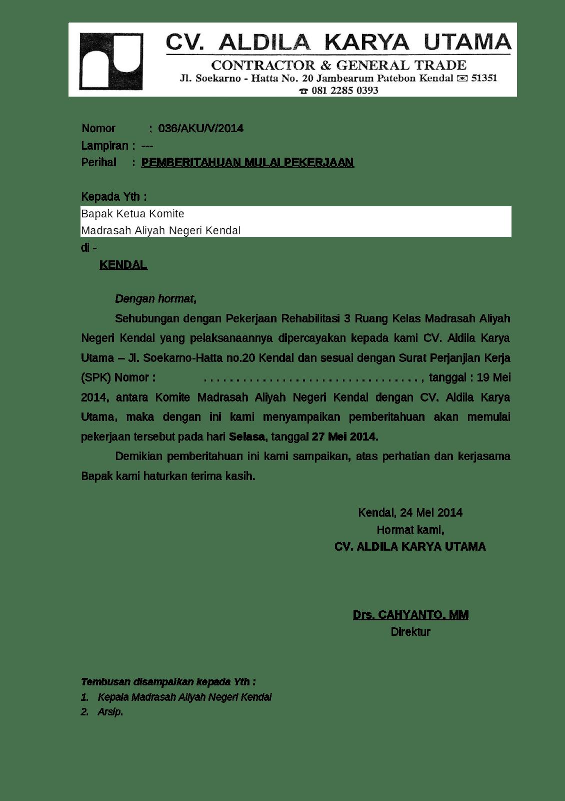 Contoh Surat Pemberitahuan Kegiatan Proyek
