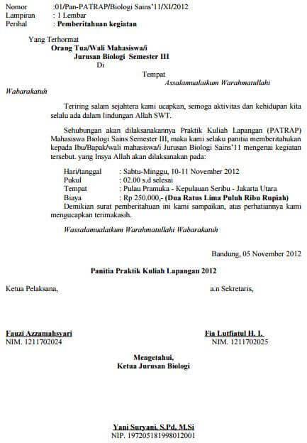 Contoh Surat Pemberitahuan Pihak Sekolah Kepada Orang Tua Siswa