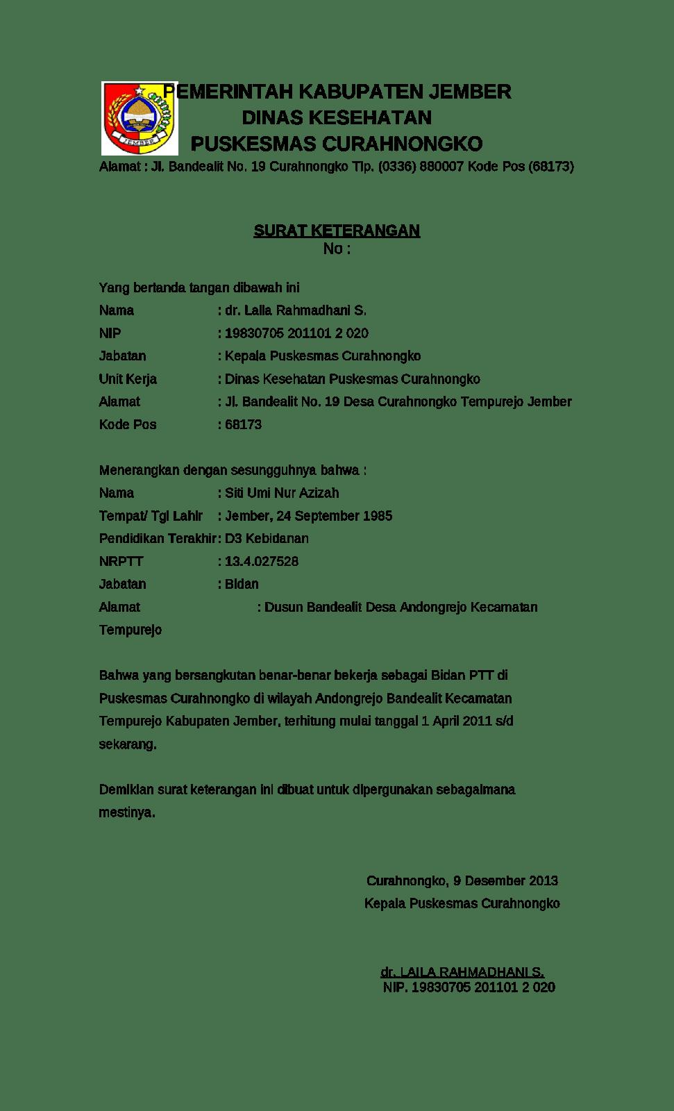 Contoh Surat Lamaran Kerja Di Puskesmas Tulis Tangan