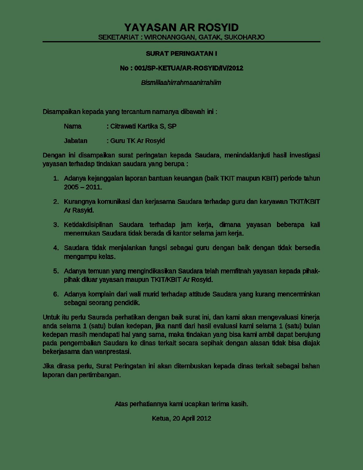 Contoh Surat Peringatan 1 Untuk Guru