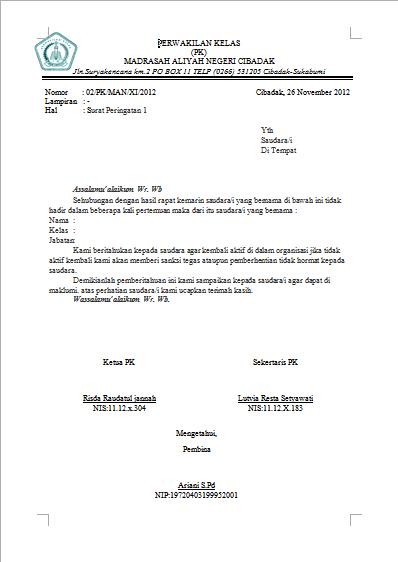 Contoh Surat Peringatan Organisasi