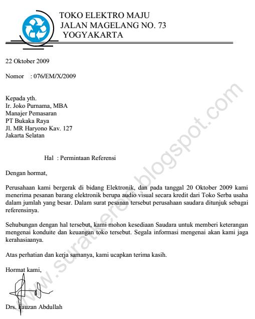 Contoh Surat Permintaan Penawaran Barang/Produk