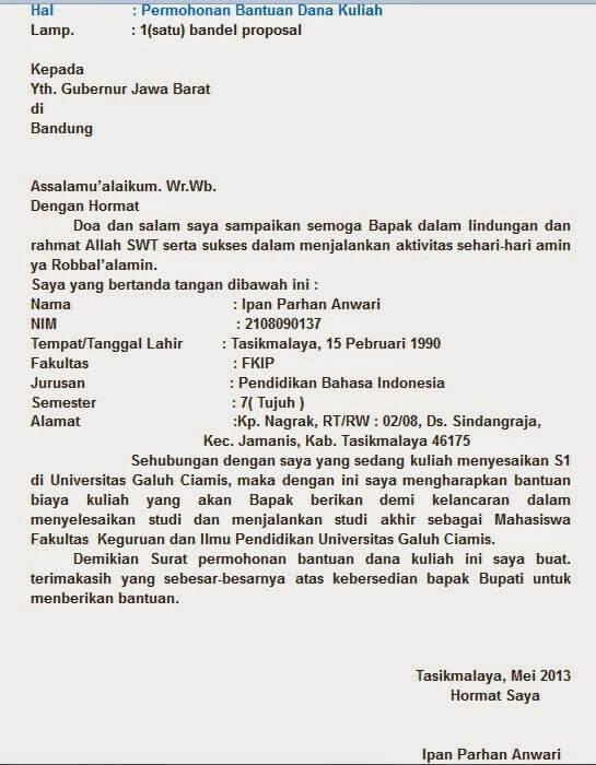 Contoh Surat Permohonan Bantuan Dana Pendidikan