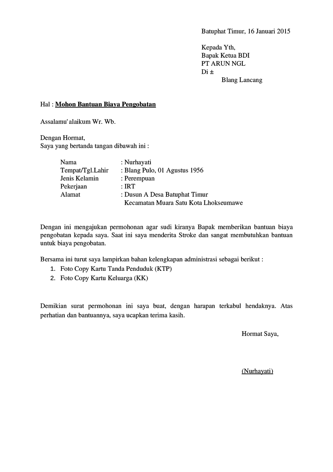 Contoh Surat Permohonan Bantuan Dana Pengobatan