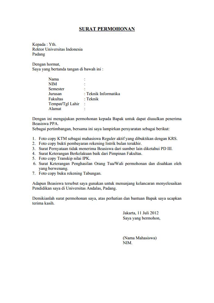 Contoh Surat Permohonan Pribadi