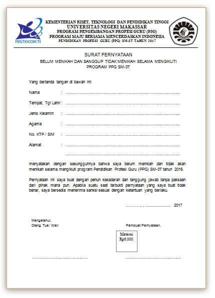 Contoh Surat Pernyataan Belum Menikah Dan Bersedia Tidak Menikah