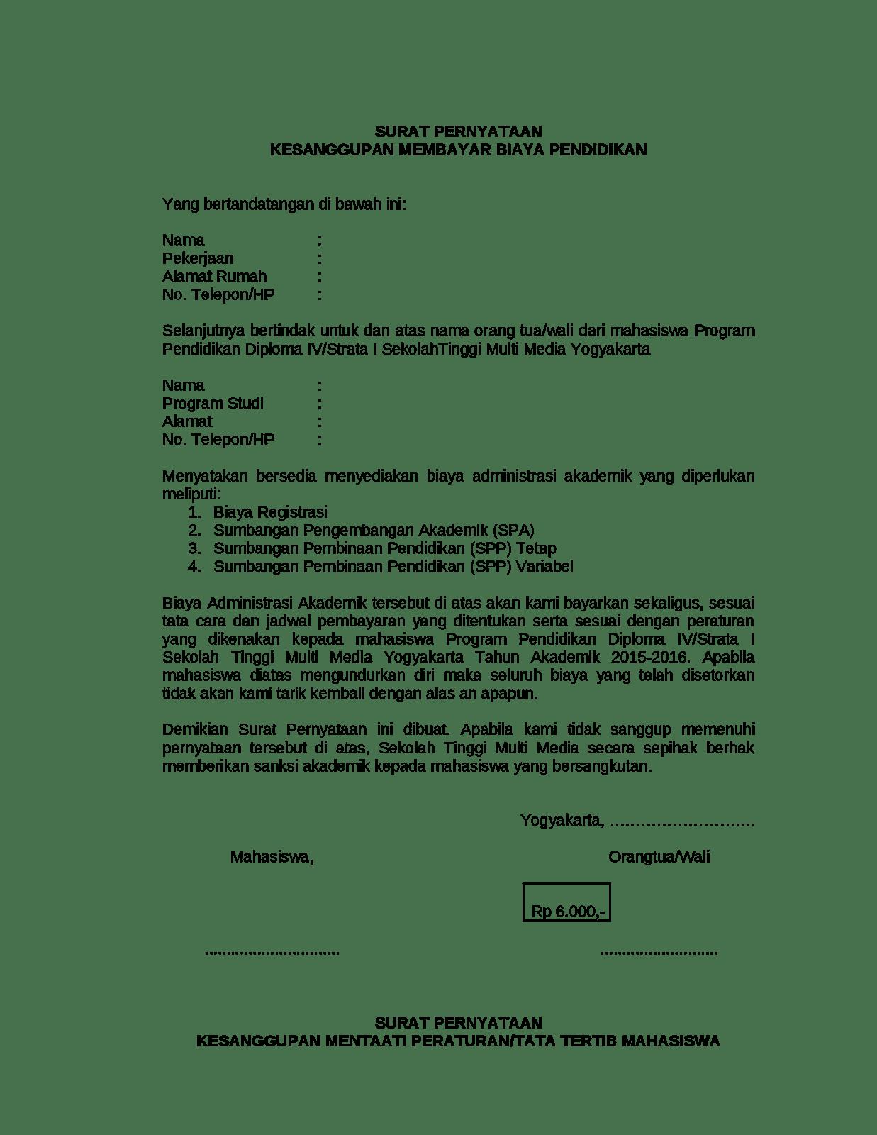 Contoh Surat Pernyataan Kesanggupan Membayar Biaya Kuliah atau Biaya Pendidikan