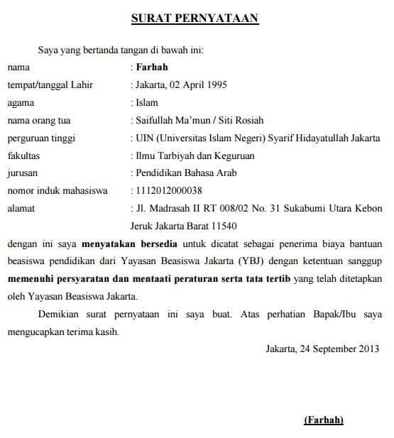 Contoh Surat Pernyataan Kesanggupan Mentaati Peraturan