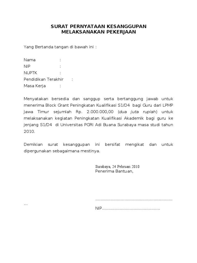 Contoh Surat Pernyataan Kesanggupan Menyelesaikan Kontrak