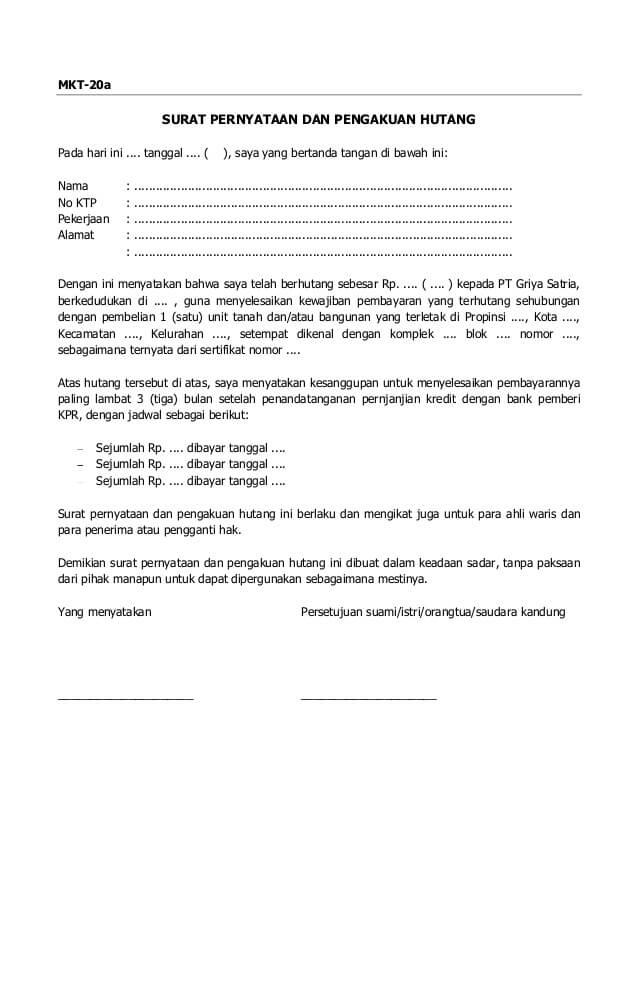 Contoh Surat Pernyataan Kesanggupan Pembayaran Hutang