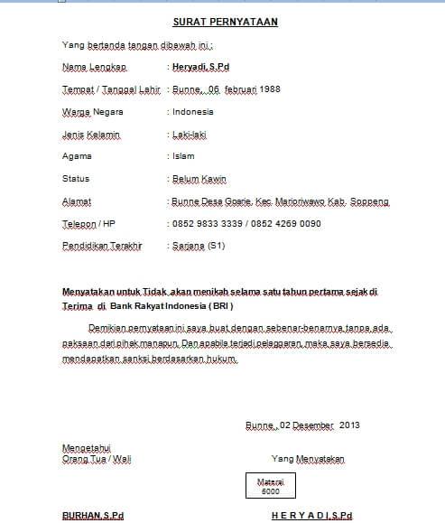 Contoh Surat Pernyataan Kesanggupan Tidak Menikah Selama Kontrak