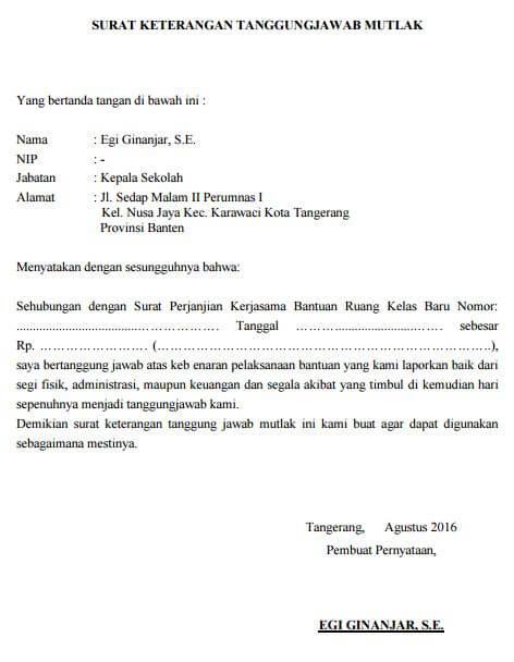 Contoh Surat Pernyataan Perjanjian Pertanggungjawaban