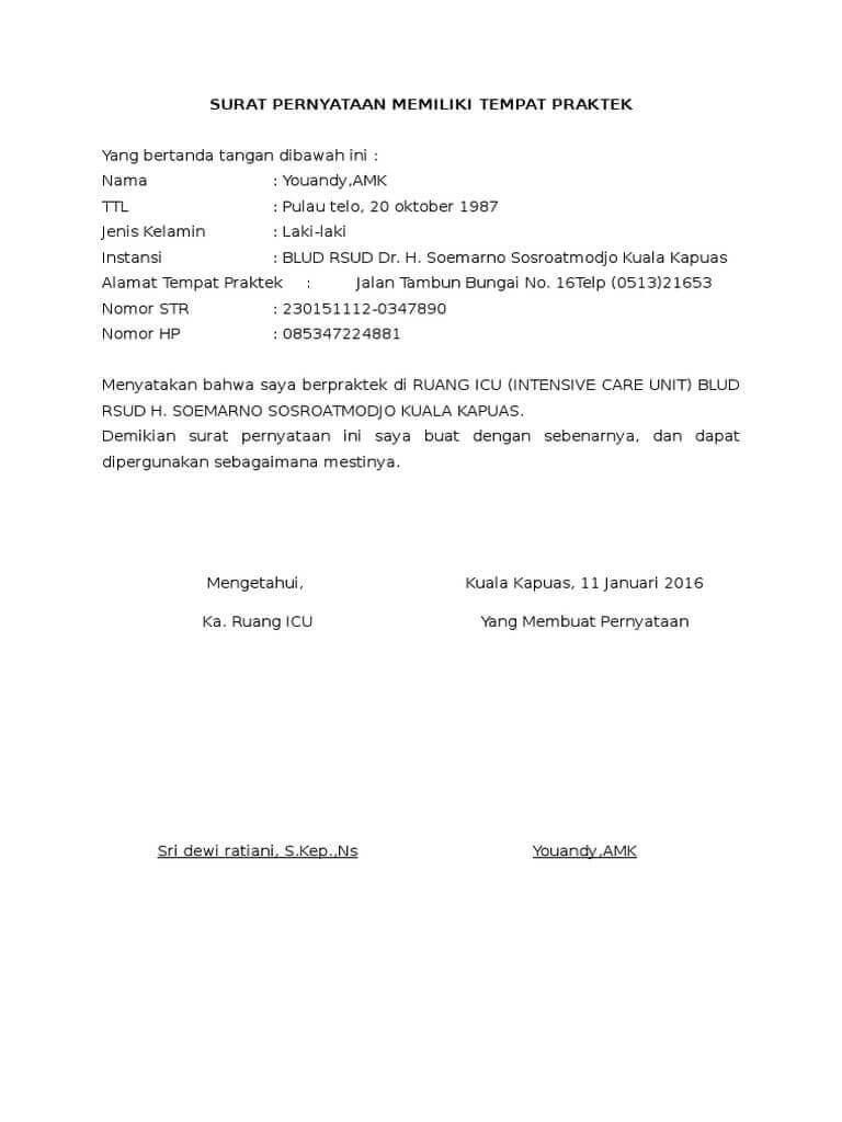 Contoh Surat Pernyataan Praktik Umum