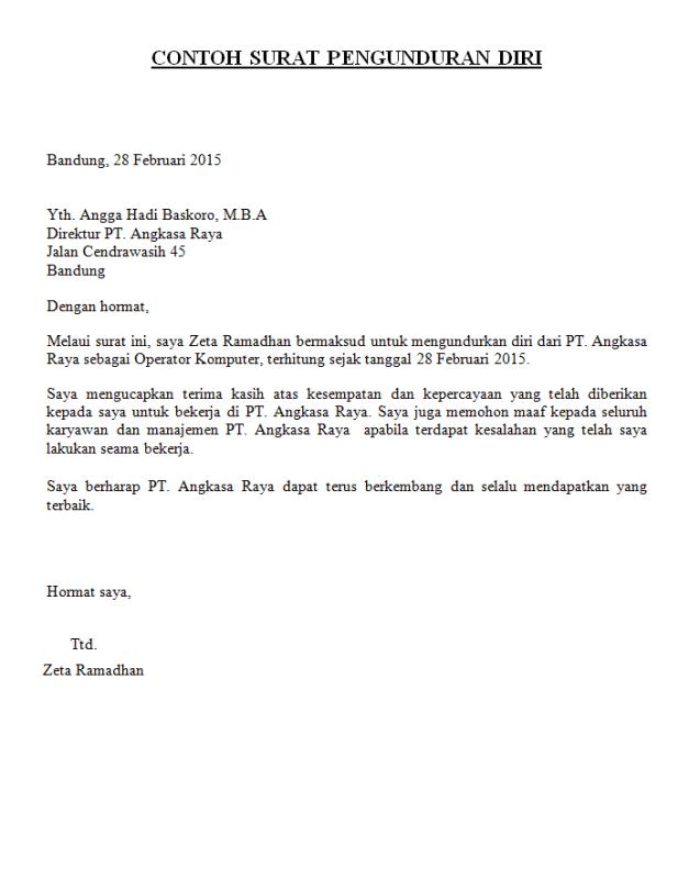 Contoh Surat Resign Hotel