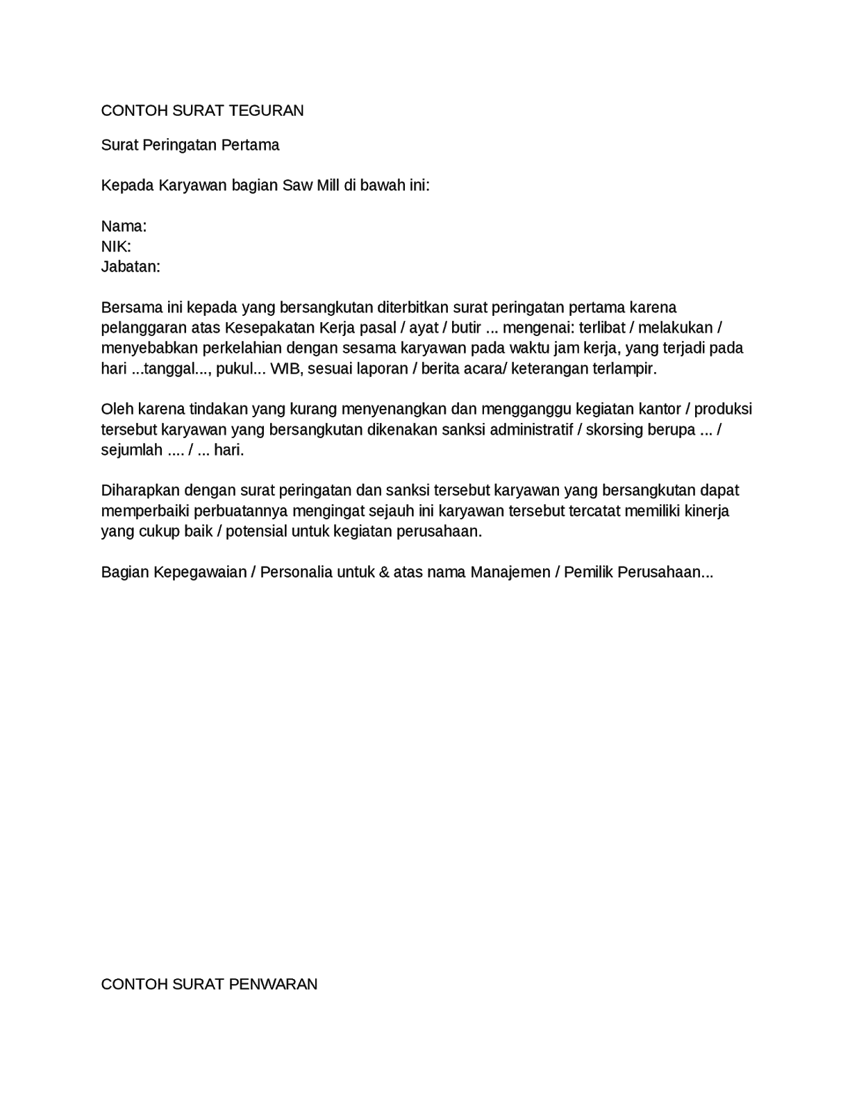 Contoh Surat Teguran Perangkat Desa