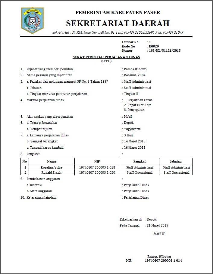 Contoh Surat Tugas Perjalanan Dinas