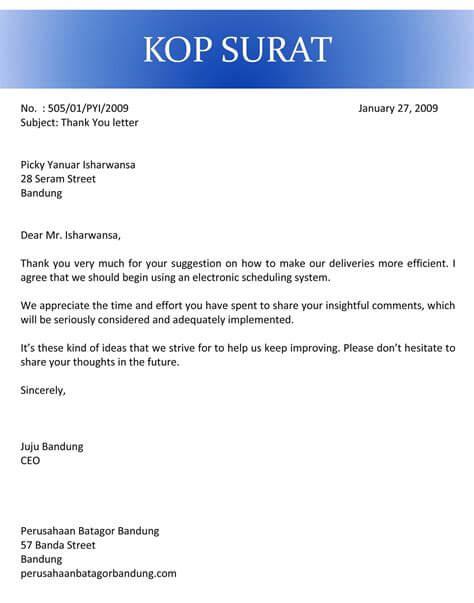 Contoh Surat Ucapan Terima Kasih Perusahaan Kepada Karyawan