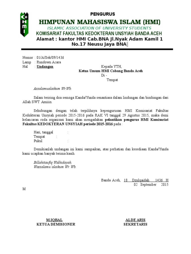 Contoh Surat Undangan Pelantikan Pengurus Organisasi