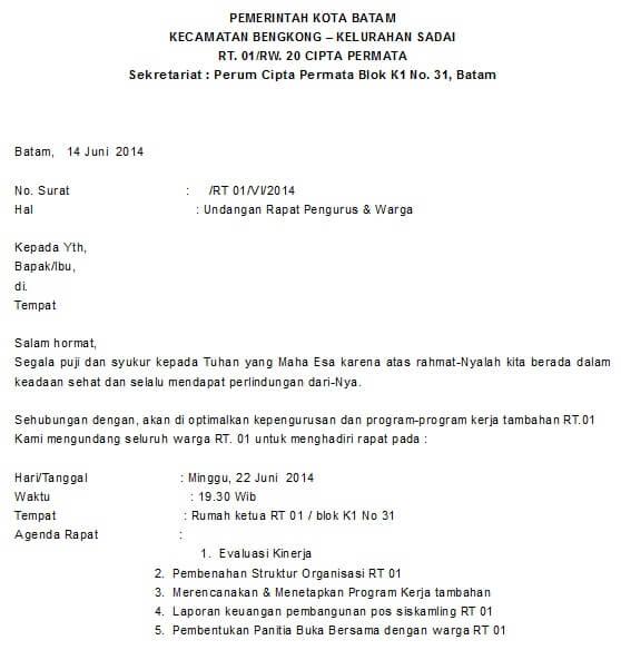 Contoh Surat Undangan Rapat RT Untuk Warga