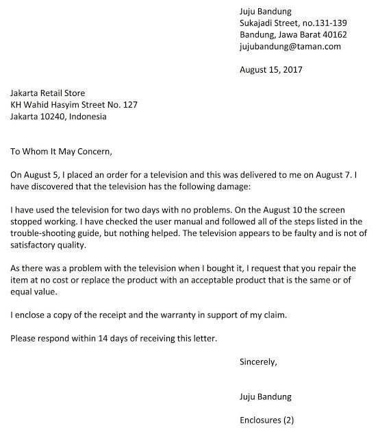 Surat Balasan Komplain Barang Rusak Dalam Bahasa Inggris