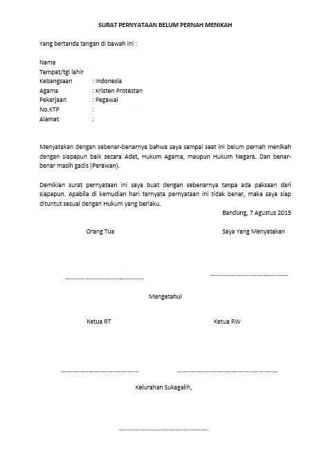 Contoh Surat Keterangan Belum Menikah Catatan Sipil