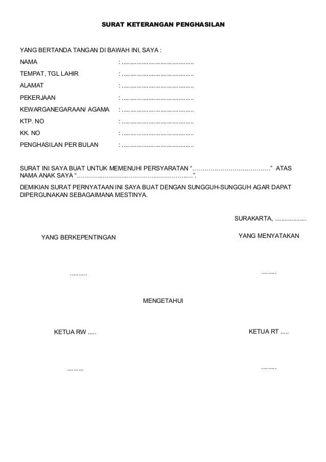 Contoh Surat Keterangan Pekerjaan Orang Tua Dari RT / RW