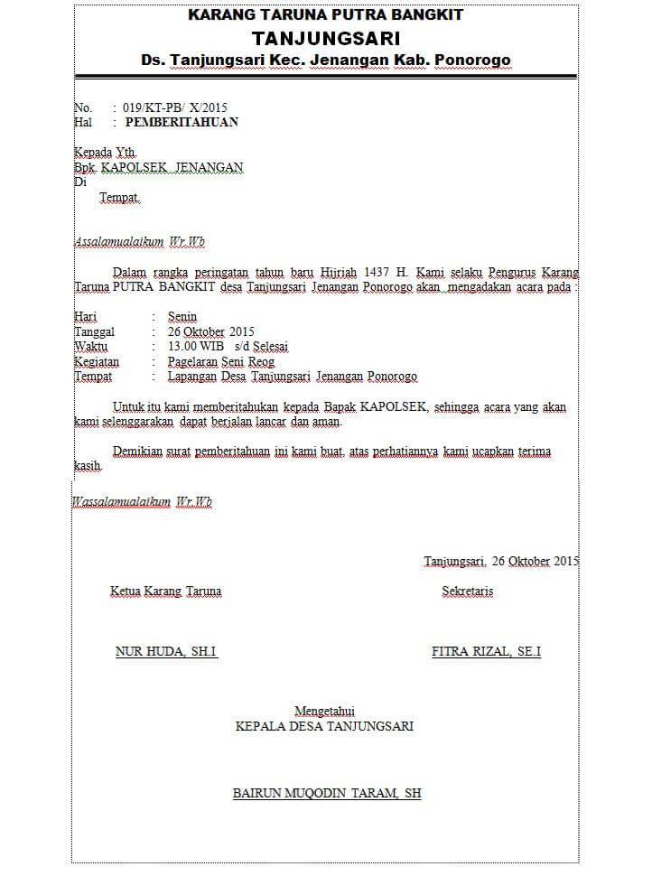 Contoh Surat Pemberitahuan Kegiatan Ke Polsek Doc