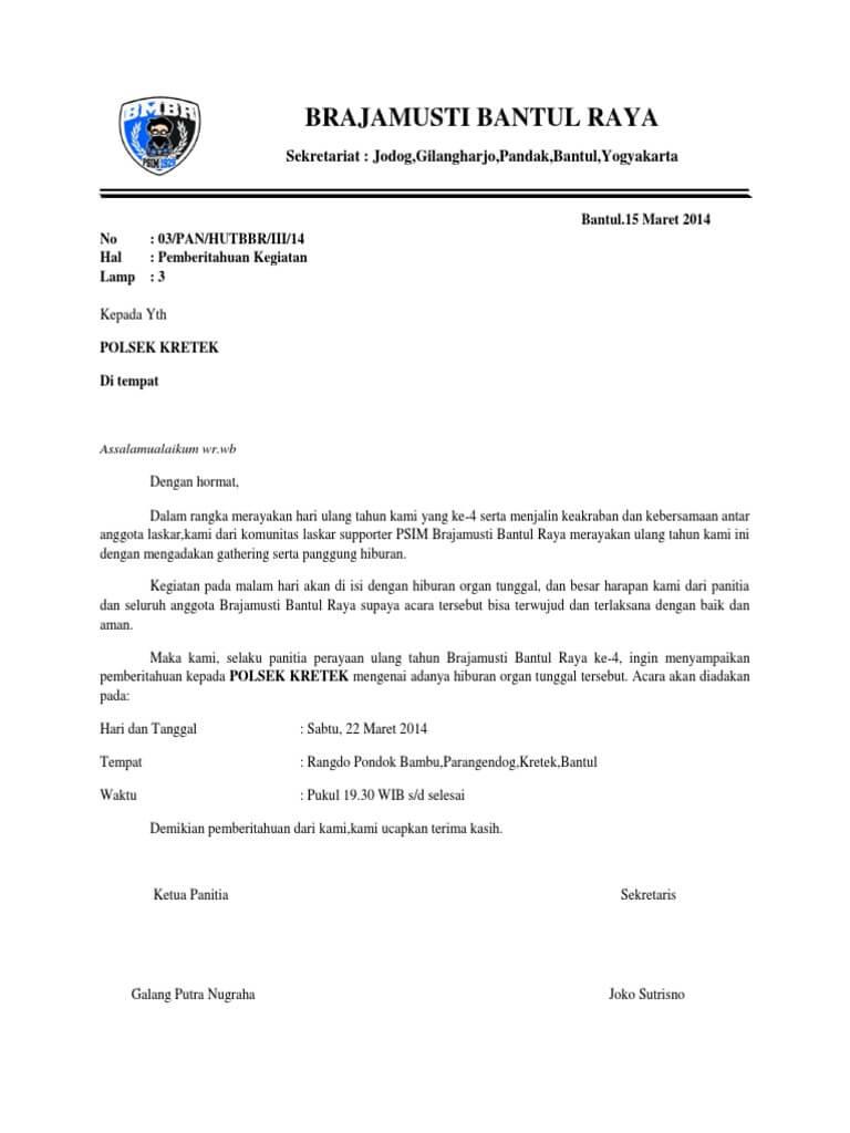 Contoh Surat Pemberitahuan Kegiatan Pramuka Ke Polsek