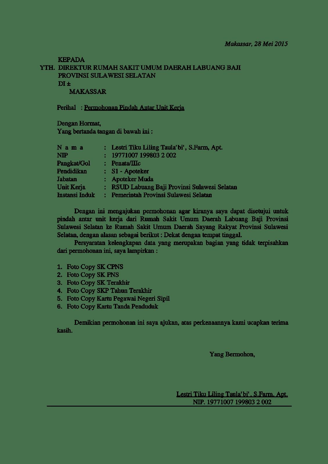 Contoh Surat Permohonan Pindah Unit Kerja Pns
