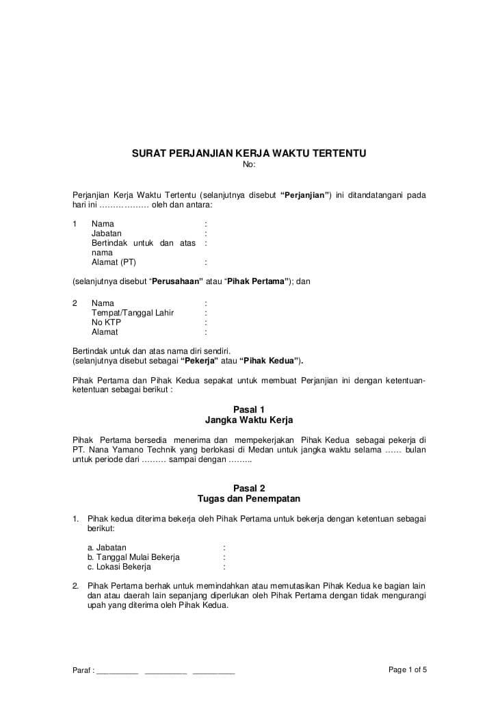 contoh Surat Perjanjian Kerja Probation