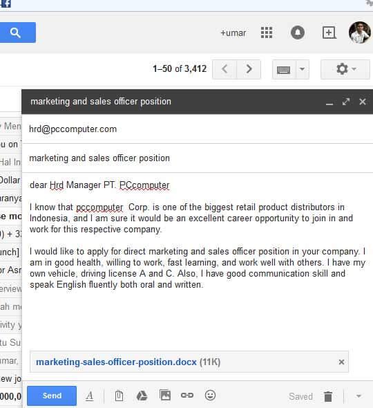 Contoh Body Email Lamaran Kerja Bahasa Inggris