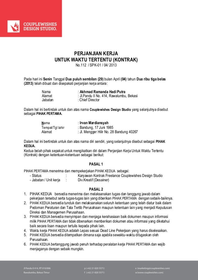 contoh kontrak kerja proyek