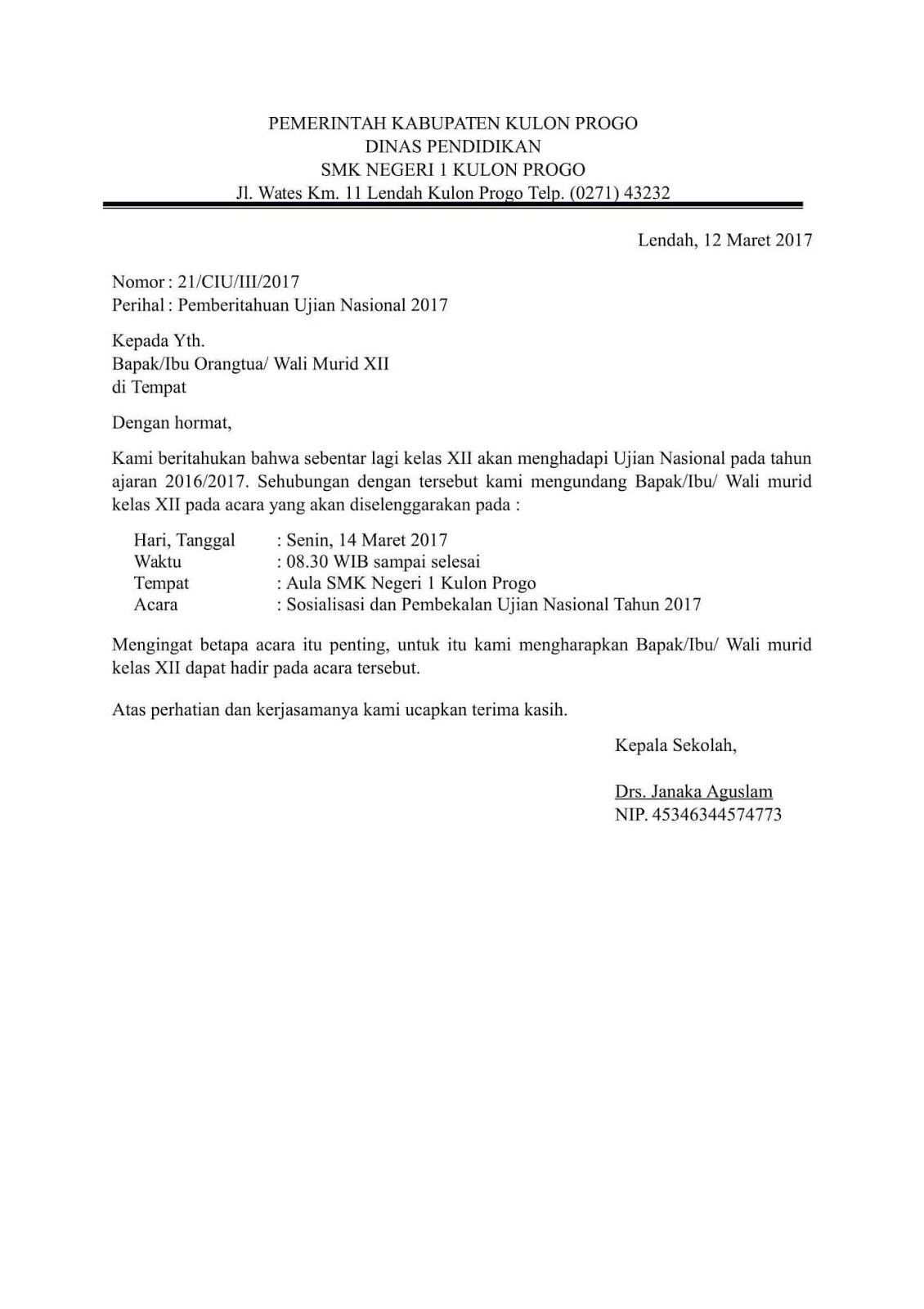 Contoh Surat Edaran Pemberitahuan Sekolah
