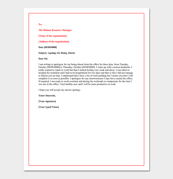 surat izin tidak masuk kerja bahasa inggris