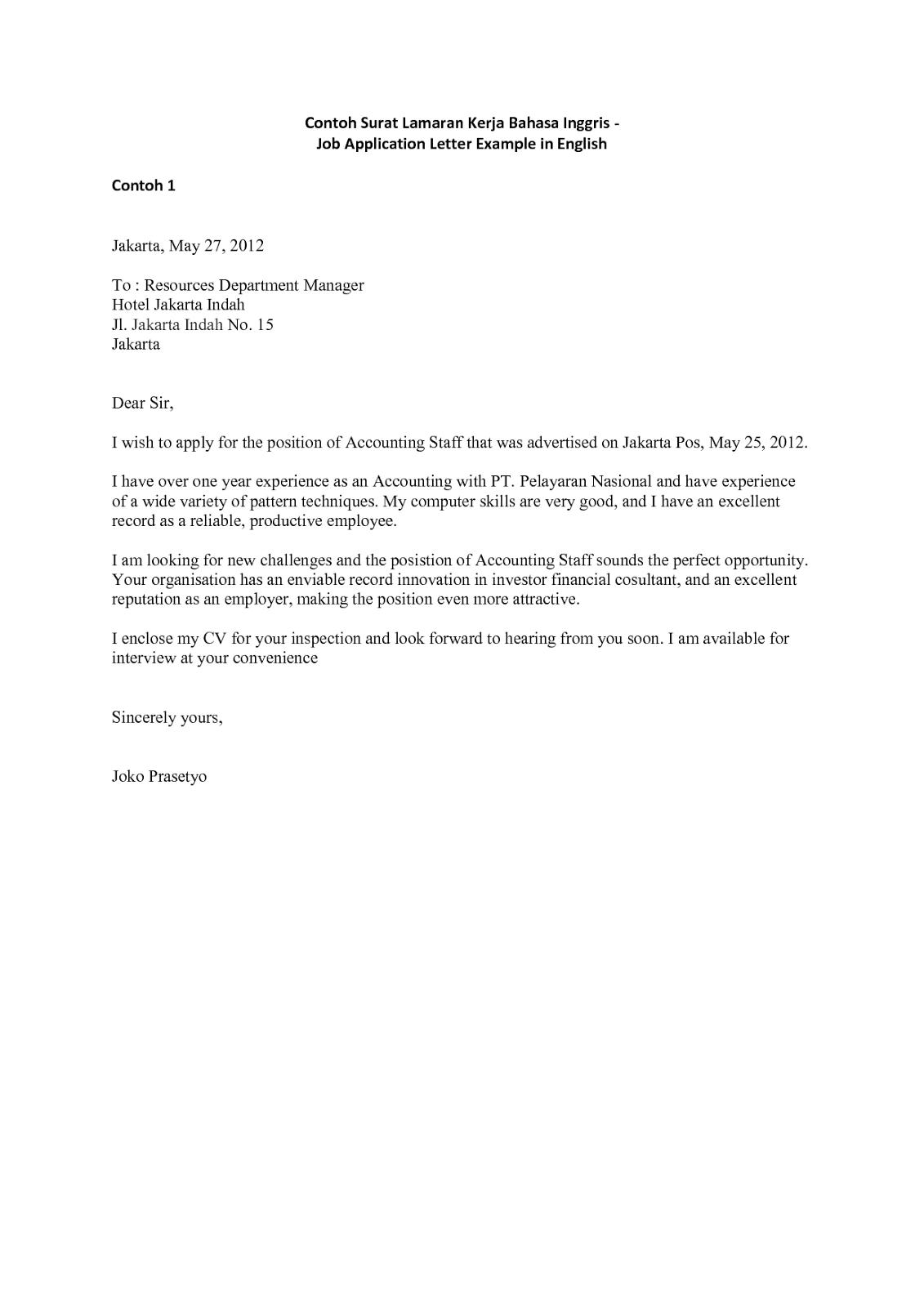 Contoh Surat Lamaran Kerja Bahasa Inggris yang Simple