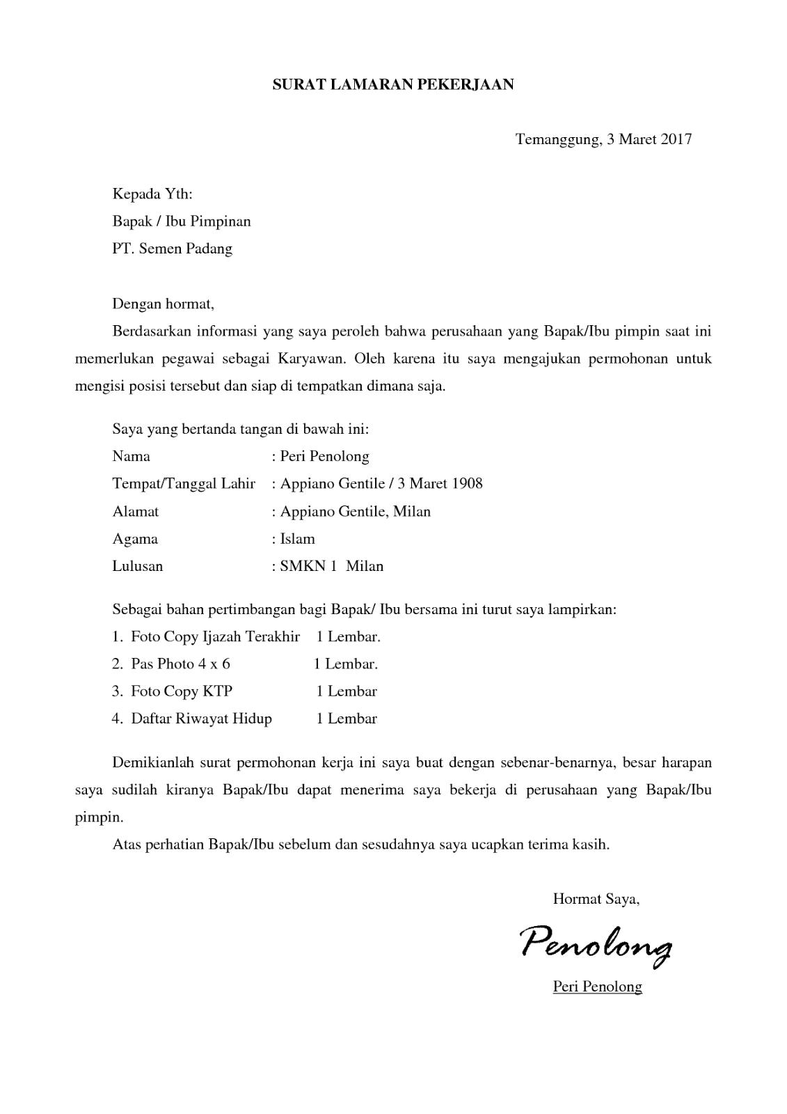Contoh Surat Lamaran Kerja ke Pabrik