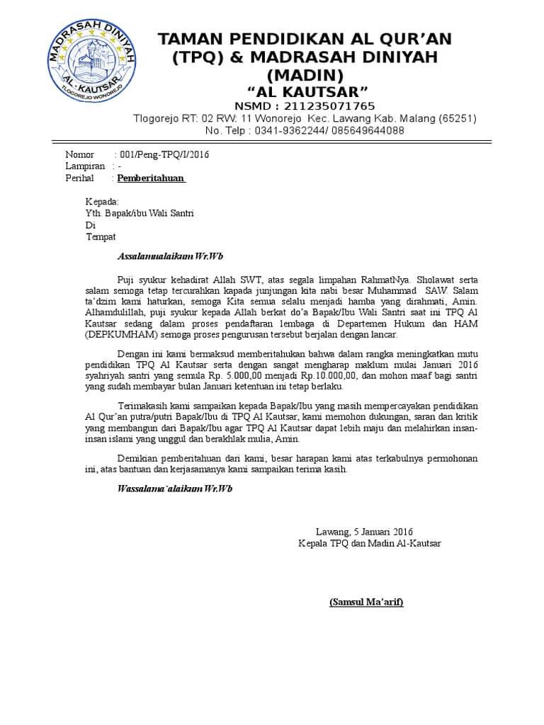 Contoh Surat Pemberitahuan Kenaikan SPP