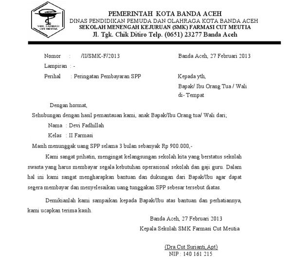 Contoh Surat Pemberitahuan Tunggakan SPP Siswa